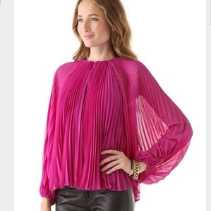 DVF Charisma Pleated Silk Blouse